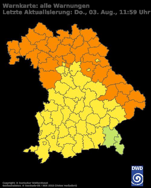 Aktuelle Wetterwarnungen für Würzburg
